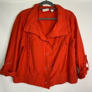 3/$25 CHICO'S Red Cropped Roll Tab Sleeve Jacket